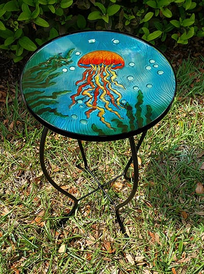 "Exquisite Jellyfish Glass Side Table - 12"" Diameter Top 3"