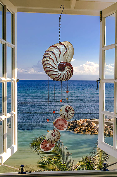 """Gorgeous Glass Nautilus Shell Wind Chime - 22"""" 1"""