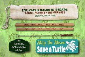 manatee bamboo straw set