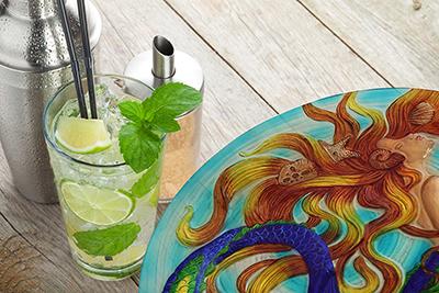 """Sunkissed Mermaid Glass Plate - 12"""" 5"""