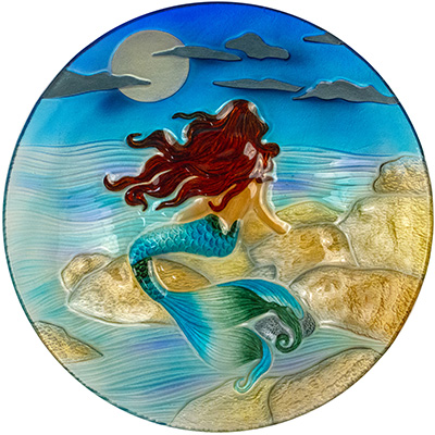 "Moonlight Mermaid Glass Plate - 8"" 1"