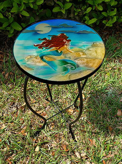 """Magnificent Moonlight Mermaid Glass Side Table - 12"""" Diameter Top 3"""