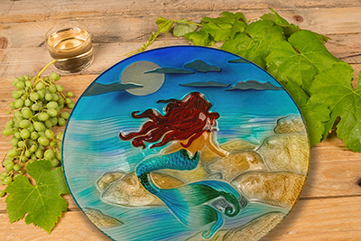 "Moonlight Mermaid Glass Plate - 8"" 3"