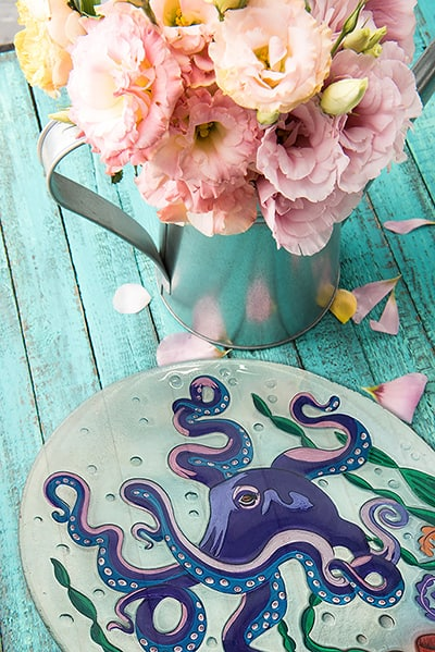 "Octopus Glass Plate - 12"" 5"