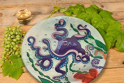 "Octopus Glass Plate - 12"" 3"
