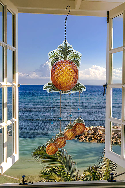 """Incredible Glass Pineapple Wind Chime - 24"""" 3"""