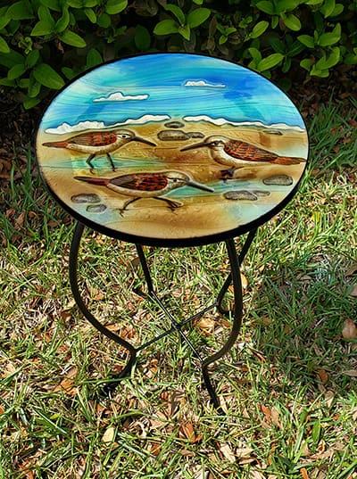 "Dazzling Sandpiper Glass Side Table - 12"" Diameter Top 3"