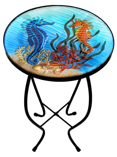 "Sensational Seahorse Glass Side Table - 12"" Diameter Top 1"