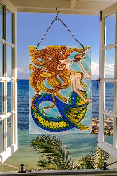 Dazzling Sunkissed Mermaid Glass Suncatcher 2