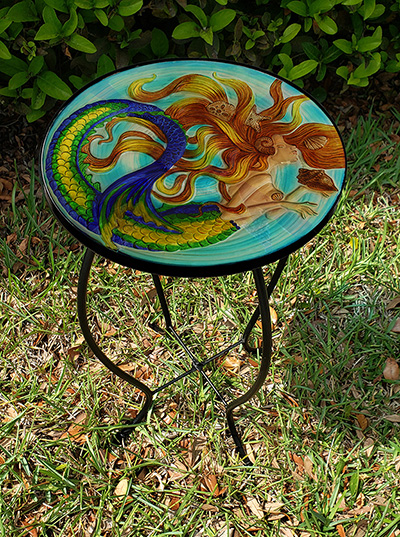 "Sunkissed Mermaid Glass Side Table - 12"" Diameter Top 3"