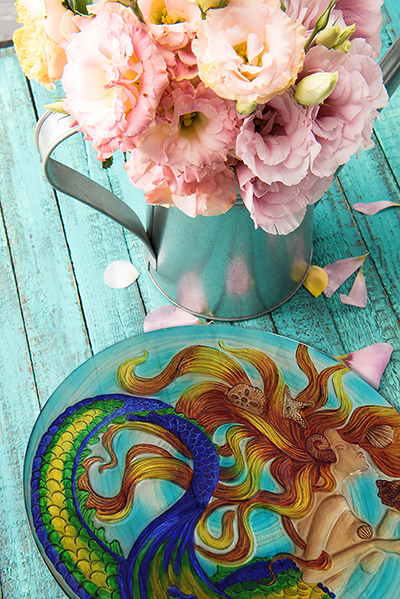 "Sunkissed Mermaid Glass Plate - 8"" 3"
