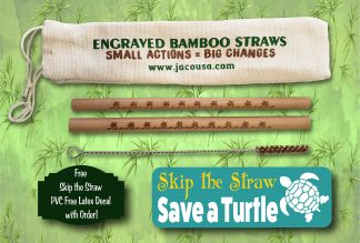 turtle bamboo straw set