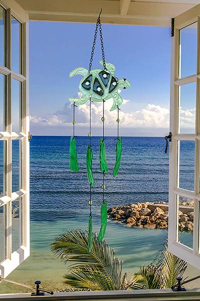 "Whimsical Sea Turtle Glass Wind Chime - 24"" 1"