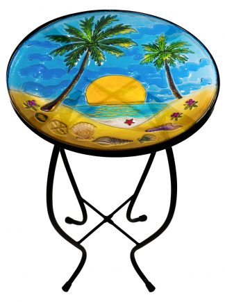 "Wonderful Palm Tree Glass Side Table - 12"" Diameter Top 1"