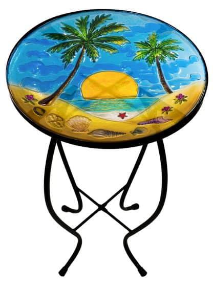 "Wonderful Palm Tree Glass Side Table - 12"" Diameter Top 1"