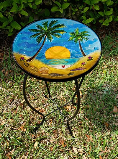 "Wonderful Palm Tree Glass Side Table - 12"" Diameter Top 3"