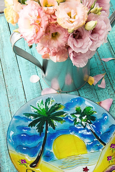 "Palm Tree Glass Plate - 8"" 9"