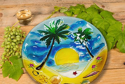 "Palm Tree Glass Plate - 8"" 5"