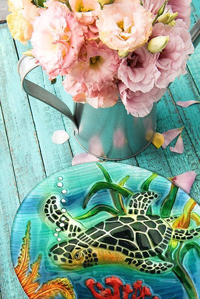 "Sea Turtle Glass Plate - 8"" 5"