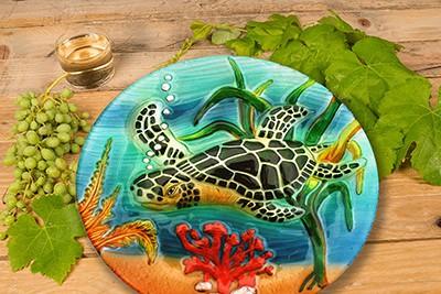 "Sea Turtle Glass Plate - 8"" 3"