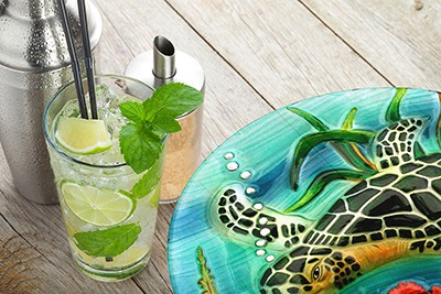 "Sea Turtle Glass Plate - 8"" 1"