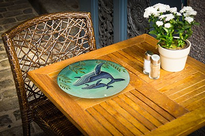 """Whale Glass Plate - 12"""" 3"""