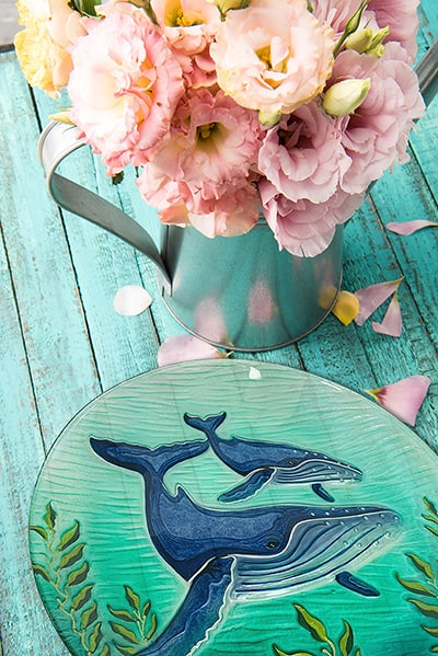 """Whale Glass Plate - 12"""" 4"""