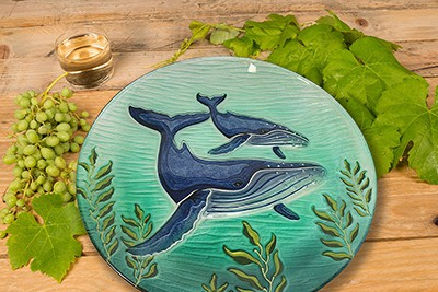 """Whale Glass Plate - 12"""" 2"""