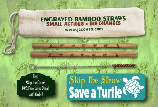 wildlife bamboo straw set