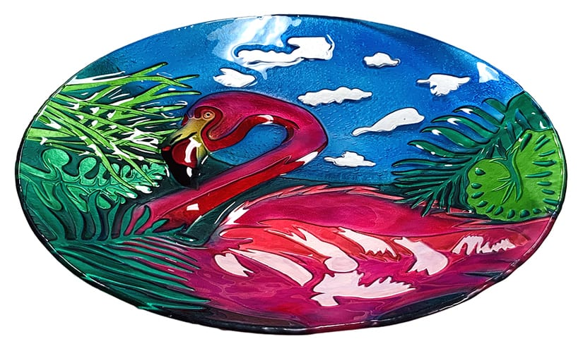 "Fabulous Flamingo Glass Bowl - 18"" 3"