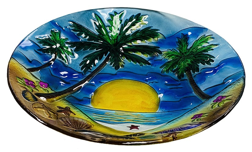 "Glorious Palm Tree Glass Bowl - 18"" 3"