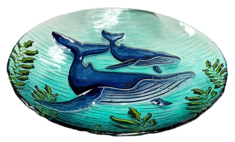 "Whale Glass Bowl - 18"" 3"