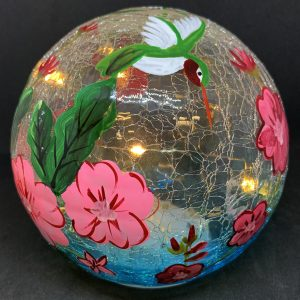 hummingbird gazing globe and light