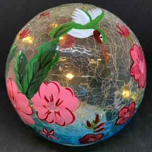hummingbird gazing globe and light