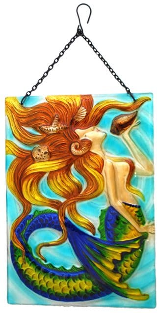 mermaid glass suncatcher