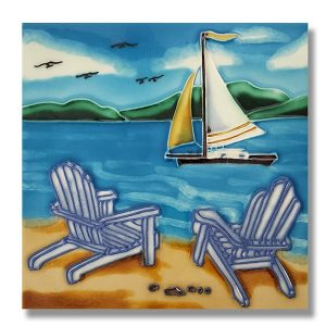 Beautiful Beach Chairs Tile Trivet 1