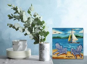 Beautiful Beach Chairs Tile Trivet 2