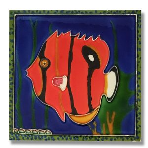 Incredible Red Angelfish Tile Trivet 1