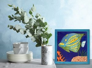 Splendid Blue Angelfish Tile Trivet 2