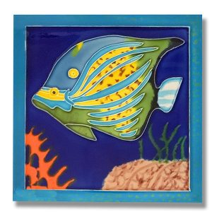 Splendid Blue Angelfish Tile Trivet 1