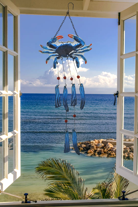 "Astonishing Glass Blue Crab Wind Chime - 24"" 3"