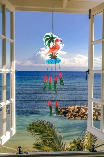 Flamingo Glass Wind Chime 2