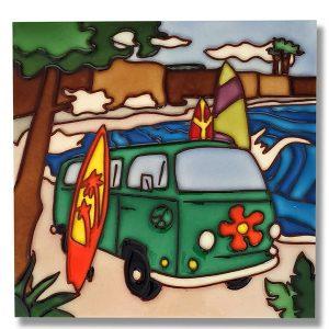 Groovy Hippie Van Tile Trivet 1