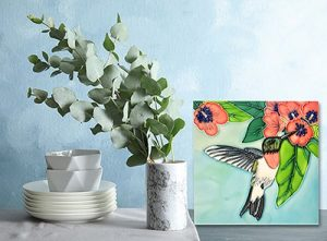 Wonderful Hummingbird Butterfly Tile Trivet 2