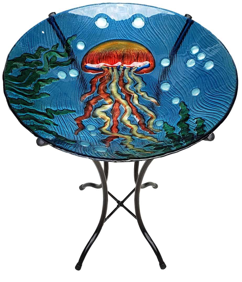 "Jellyfish Glass Bird Bath Bowl - 18"" 7"