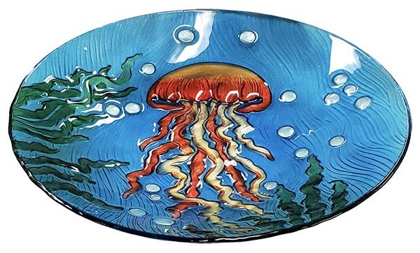 "Jellyfish Glass Bird Bath Bowl - 18"" 3"