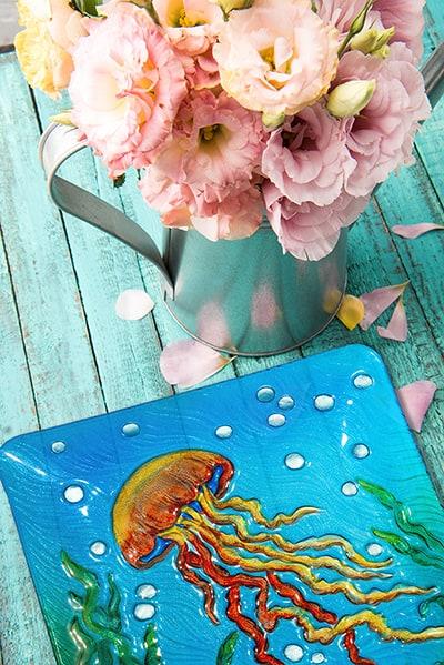 "Jellyfish Glass Plate - 12"" 4"