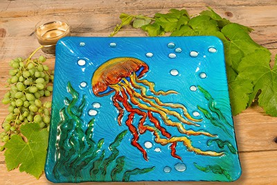 "Jellyfish Glass Plate - 12"" 3"