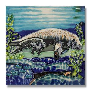 Fantastic Watercolor Manatee Tile Trivet 1