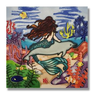 Magnificent Mermaid Tile Trivet 1